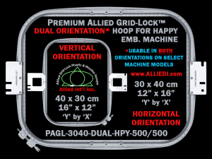 Happy 30 x 40 cm (12 x 16 inch) Rectangular Premium Allied Grid-Lock DUAL ORIENTATION Embroidery Hoop for 500 mm Sew Field / Arm Spacing