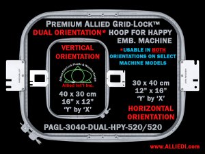 Happy 30 x 40 cm (12 x 16 inch) Rectangular Premium Allied Grid-Lock DUAL ORIENTATION Embroidery Hoop for 520 mm Sew Field / Arm Spacing