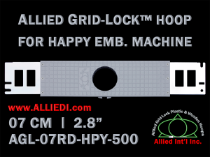 7 cm (2.8 inch) Round Allied Grid-Lock Plastic Embroidery Hoop - Happy 500