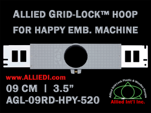 9 cm (3.5 inch) Round Allied Grid-Lock Plastic Embroidery Hoop - Happy 520