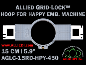 15 cm (5.9 inch) Round Allied Grid-Lock (New Design) Plastic Embroidery Hoop - Happy 450