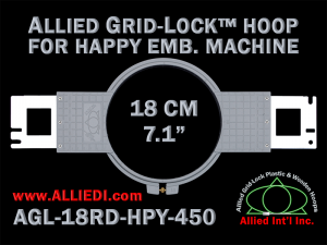 18 cm (7.1 inch) Round Allied Grid-Lock Plastic Embroidery Hoop - Happy 450