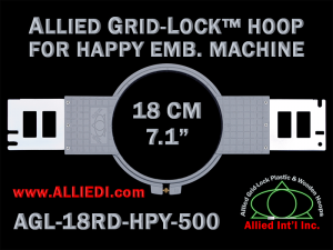 18 cm (7.1 inch) Round Allied Grid-Lock Plastic Embroidery Hoop - Happy 500