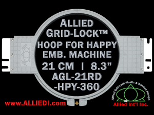 21 cm (8.3 inch) Round Allied Grid-Lock Plastic Embroidery Hoop - Happy 360