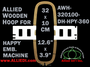 32.0 x 10.0 cm (12.6 x 3.9 inch) Rectangular Allied Wooden Embroidery Hoop, Double Height - Happy 360