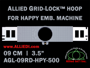 9 cm (3.5 inch) Round Allied Grid-Lock Plastic Embroidery Hoop - Happy 500