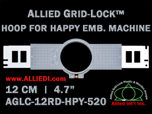 12 cm (4.7 inch) Round Allied Grid-Lock (New Design) Plastic Embroidery Hoop - Happy 520