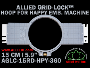 15 cm (5.9 inch) Round Allied Grid-Lock (New Design) Plastic Embroidery Hoop - Happy 360