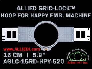 15 cm (5.9 inch) Round Allied Grid-Lock (New Design) Plastic Embroidery Hoop - Happy 520