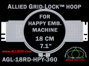 18 cm (7.1 inch) Round Allied Grid-Lock Plastic Embroidery Hoop - Happy 360