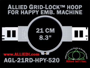 21 cm (8.3 inch) Round Allied Grid-Lock Plastic Embroidery Hoop - Happy 520