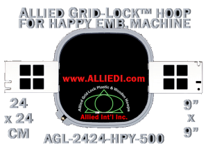 24 x 24 cm (9 x 9 inch) Square Allied Grid-Lock Plastic Embroidery Hoop - Happy 500
