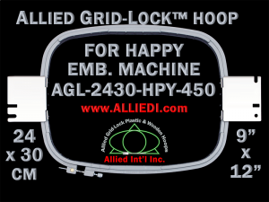 24 x 30 cm (9 x 12 inch) Rectangular Allied Grid-Lock Plastic Embroidery Hoop - Happy 450