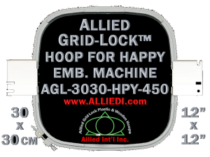 30 x 30 cm (12 x 12 inch) Square Allied Grid-Lock Plastic Embroidery Hoop - Happy 450