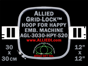 30 x 30 cm (12 x 12 inch) Square Allied Grid-Lock Plastic Embroidery Hoop - Happy 520 - Allied May Substitute this with Premium Version Hoop