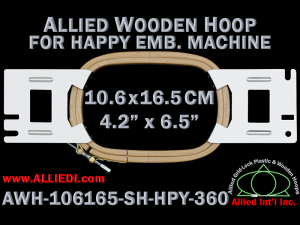 10.6 x 16.5 cm (4.2 x 6.5 inch) Rectangular Allied Wooden Embroidery Hoop, Single Height - Happy 360
