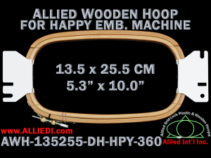 13.5 x 25.5 cm (5.3 x 10.0 inch) Rectangular Allied Wooden Embroidery Hoop, Double Height - Happy 360