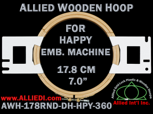 17.8 cm (7.0 inch) Round Allied Wooden Embroidery Hoop, Double Height - Happy 360
