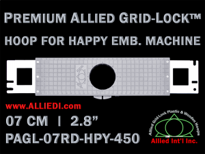7 cm (2.8 inch) Round Premium Allied Grid-Lock Plastic Embroidery Hoop - Happy 450