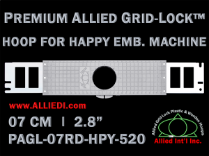 7 cm (2.8 inch) Round Premium Allied Grid-Lock Plastic Embroidery Hoop - Happy 520