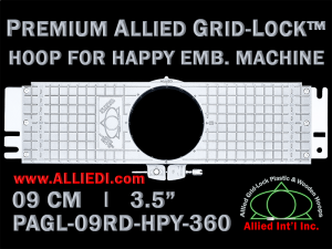 9 cm (3.5 inch) Round Premium Allied Grid-Lock Plastic Embroidery Hoop - Happy 360