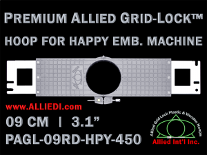 9 cm (3.5 inch) Round Premium Allied Grid-Lock Plastic Embroidery Hoop - Happy 450