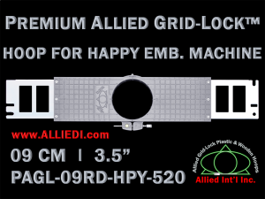 9 cm (3.5 inch) Round Premium Allied Grid-Lock Plastic Embroidery Hoop - Happy 520