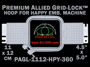 11 x 12 cm (4.5 x 5 inch) Rectangular Premium Allied Grid-Lock Plastic Embroidery Hoop - Happy 360