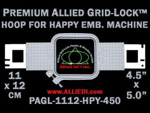 11 x 12 cm (4.5 x 5 inch) Rectangular Premium Allied Grid-Lock Plastic Embroidery Hoop - Happy 450