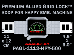 11 x 12 cm (4.5 x 5 inch) Rectangular Premium Allied Grid-Lock Plastic Embroidery Hoop - Happy 500