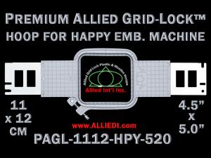 11 x 12 cm (4.5 x 5 inch) Rectangular Premium Allied Grid-Lock Plastic Embroidery Hoop - Happy 520