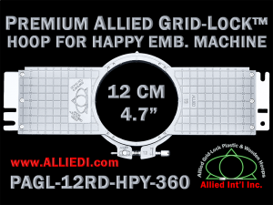 12 cm (4.7 inch) Round Premium Allied Grid-Lock Plastic Embroidery Hoop - Happy 360