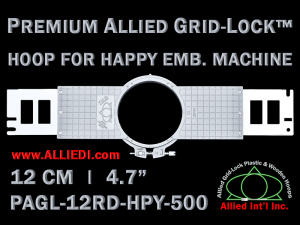12 cm (4.7 inch) Round Premium Allied Grid-Lock Plastic Embroidery Hoop - Happy 500