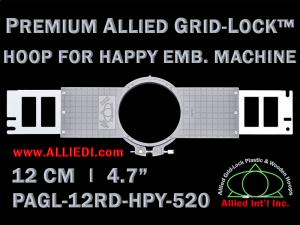 12 cm (4.7 inch) Round Premium Allied Grid-Lock Plastic Embroidery Hoop - Happy 520