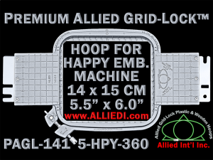 14 x 15 cm (5.5 x 6 inch) Rectangular Premium Allied Grid-Lock Plastic Embroidery Hoop - Happy 360