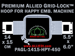14 x 15 cm (5.5 x 6 inch) Rectangular Premium Allied Grid-Lock Plastic Embroidery Hoop - Happy 450