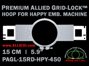 15 cm (5.9 inch) Round Premium Allied Grid-Lock Plastic Embroidery Hoop - Happy 450