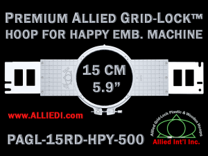 15 cm (5.9 inch) Round Premium Allied Grid-Lock Plastic Embroidery Hoop - Happy 500