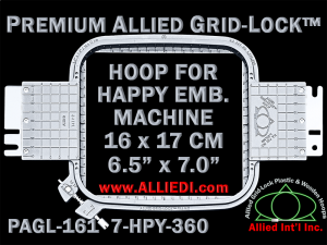 16 x 17 cm (6.5 x 7 inch) Rectangular Premium Allied Grid-Lock Plastic Embroidery Hoop - Happy 360