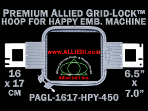 16 x 17 cm (6.5 x 7 inch) Rectangular Premium Allied Grid-Lock Plastic Embroidery Hoop - Happy 450