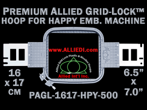 16 x 17 cm (6.5 x 7 inch) Rectangular Premium Allied Grid-Lock Plastic Embroidery Hoop - Happy 500