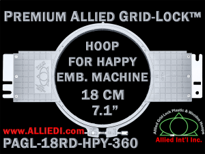 18 cm (7.1 inch) Round Premium Allied Grid-Lock Plastic Embroidery Hoop - Happy 360
