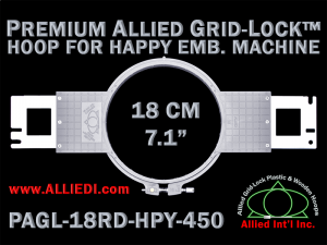 18 cm (7.1 inch) Round Premium Allied Grid-Lock Plastic Embroidery Hoop - Happy 450