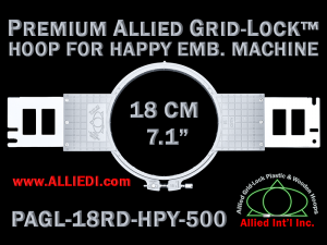 18 cm (7.1 inch) Round Premium Allied Grid-Lock Plastic Embroidery Hoop - Happy 500