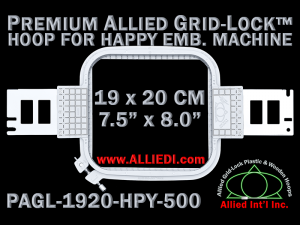19 x 20 cm (7.5 x 8 inch) Rectangular Premium Allied Grid-Lock Plastic Embroidery Hoop - Happy 500