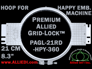 21 cm (8.3 inch) Round Premium Allied Grid-Lock Plastic Embroidery Hoop - Happy 360
