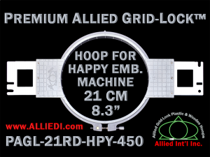21 cm (8.3 inch) Round Premium Allied Grid-Lock Plastic Embroidery Hoop - Happy 450