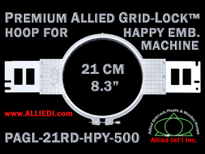 21 cm (8.3 inch) Round Premium Allied Grid-Lock Plastic Embroidery Hoop - Happy 500
