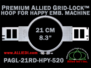 21 cm (8.3 inch) Round Premium Allied Grid-Lock Plastic Embroidery Hoop - Happy 520