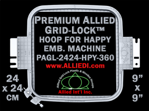 24 x 24 cm (9 x 9 inch) Square Premium Allied Grid-Lock Plastic Embroidery Hoop - Happy 360